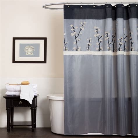 Gray And Black Shower Curtains Lush Decor Cocoa Flower Shower Curtain Home Bed Bath Bath Shower Curtains Vanity