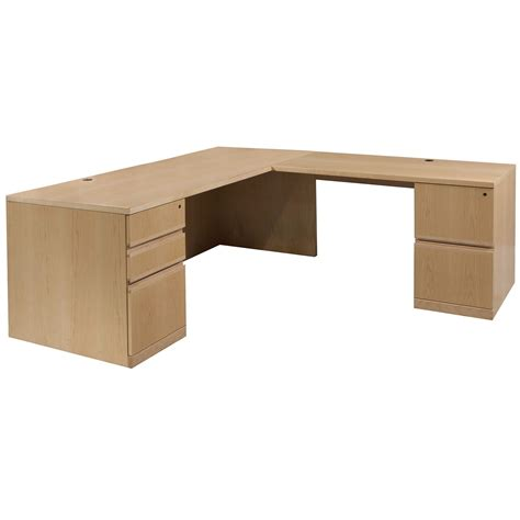 Used 30 215 72 Veneer L Shape Right Return Corner Desk Maple L Shaped Corner Desk