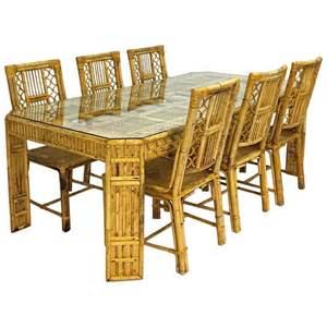 Bamboo Dining Table Set Mid Century Bamboo And Rattan Dining Table And Six Chairs At 1stdibs