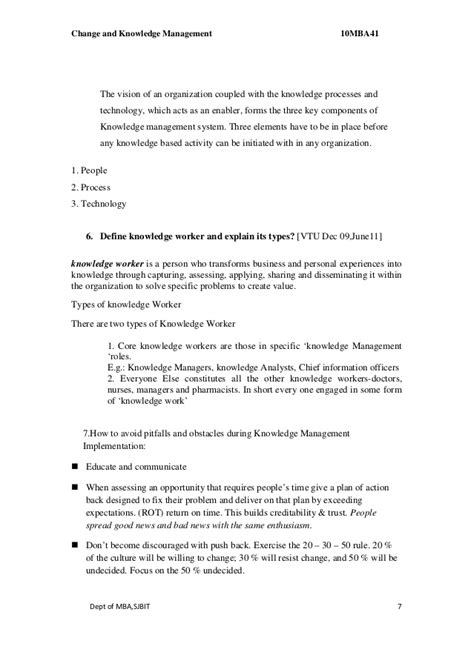 Mba Knowledge Management by Mba Iv Change Knowledge Management 10 Mba41 Solution