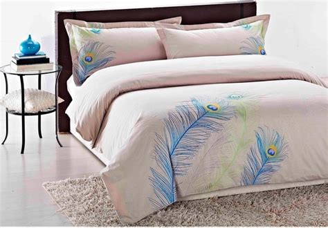 King Size Duvet Sets Embroidered Peacock King Size 3 Duvet Cover Set