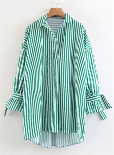 Button Collar Striped Shirt s turn collar sleeve striped button