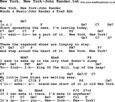 song nyc jazz song new york new york john kander with chords