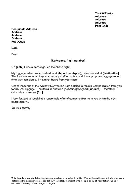 Complaint Letter Delayed Luggage airline complaint letter flight delays are no if
