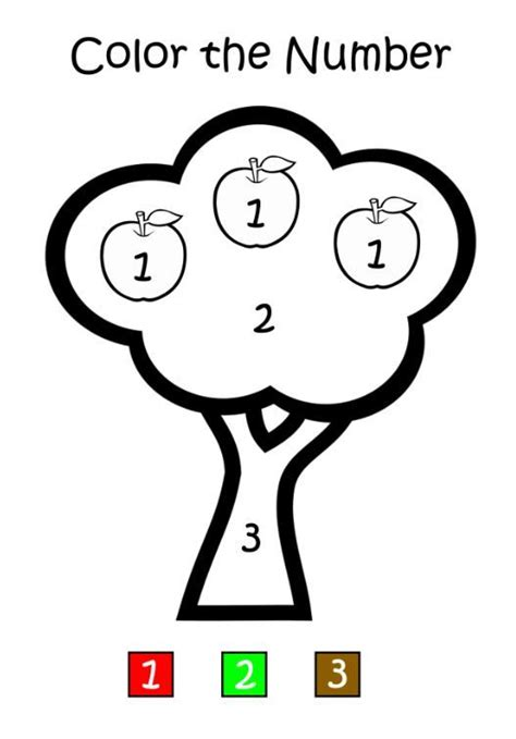 apple tree color  number preschool apples