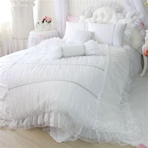 King Size White Duvet Cover Set Luxury Palace Style White 4pcs Bedding Set