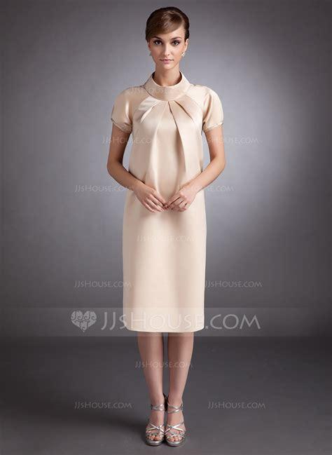 a line princess high neck knee length satin maternity