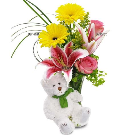 bgflorist send bouquet of roses in a vase and teddy