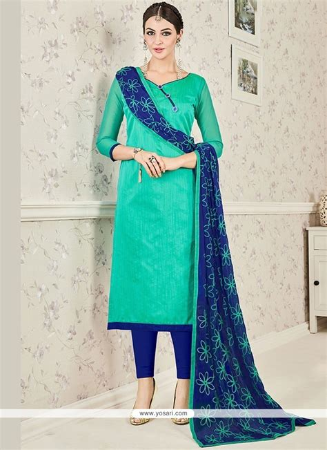 blue colour combination chutidars buy sightly navy blue and sea green print work chanderi