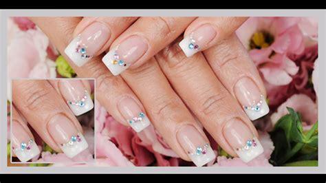 imagenes de uñas blancas con plata u 241 as decoradas con escarcha blanca youtube