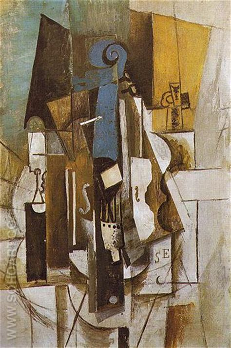picasso paintings violin pablo picasso violin at a cafe 1913 reproduction