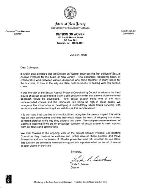 Nj Commitment Letter Standards For Providing Services To Survivors Of Sexual Assault