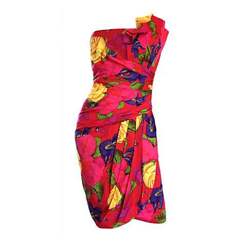 Id Flower Print Dress vintage neiman hawaiian flower print strapless