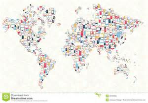 World Photos Gadgets Icons World Map Illustration Royalty Free Stock