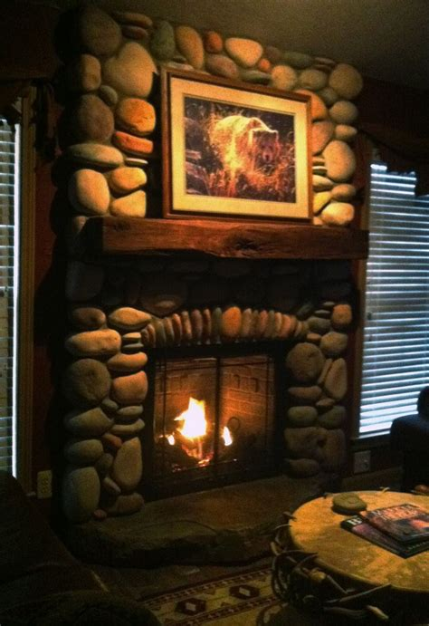 rock gas fireplace river rock fireplace fireplaces