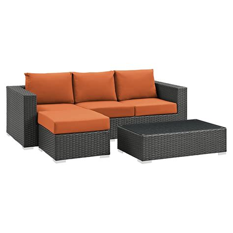 outdoor sectional sunbrella sojourn 3 pieces outdoor patio sectional set sunbrella
