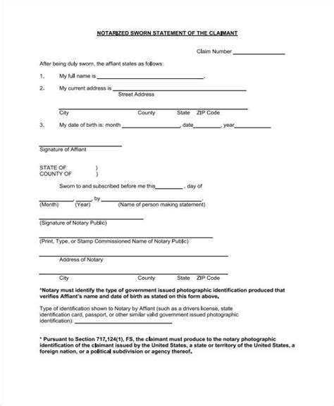 32 Sworn Statement Templates Sle Templates Proof Of Loss Template