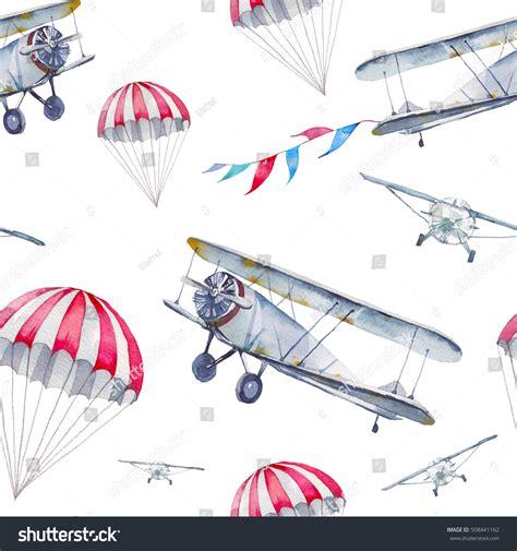 pattern plane video watercolor cartoon air plane seamless pattern stock
