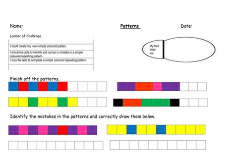 repeating patterns with 2 colours 4 worksheet activities patterns powerpoint by msabilou teaching resources tes
