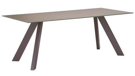 marion tempered glass dining table with painted steel