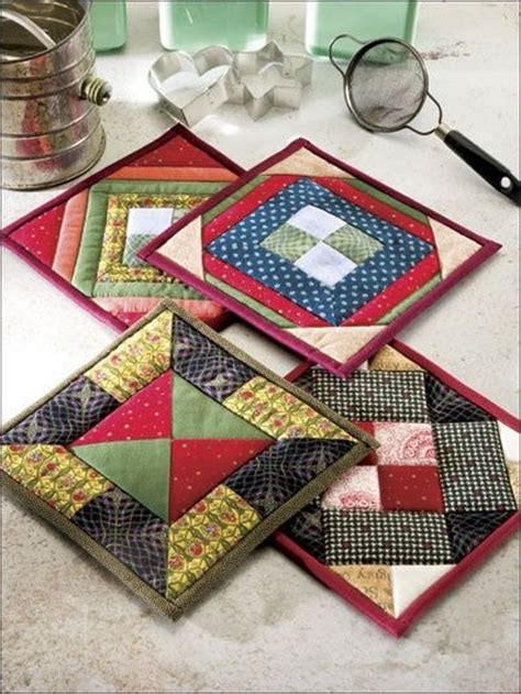 Patchwork Potholder Pattern - easy quilted pot holders 2 sort