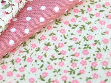 Gorden Shabby Chic Cotton Fabric Pink Flower Floral Spot Shabby Chic