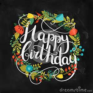 Happy Birthday Card With Hand Drawn Lettering Stock Vector