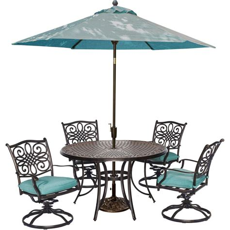 Patio Dining Set With Umbrella Hanover Traditions 5 Outdoor Patio Dining Set 4 Swivel Rockers Umbrella And Base