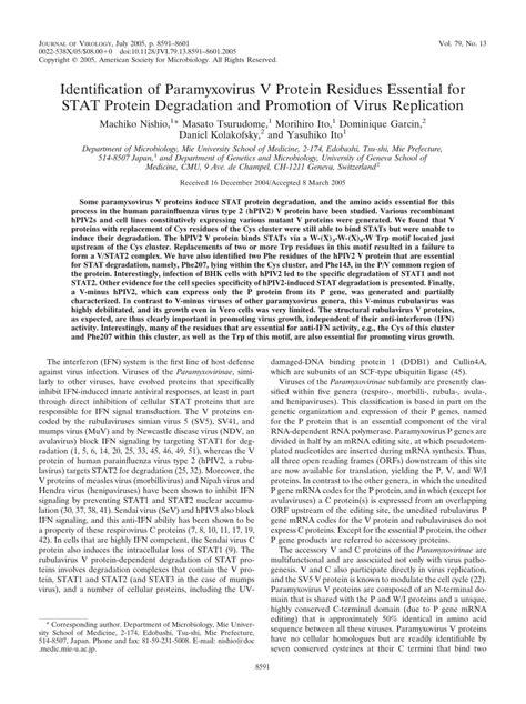 v protein paramyxovirus identification of paramyxovirus v protein residues