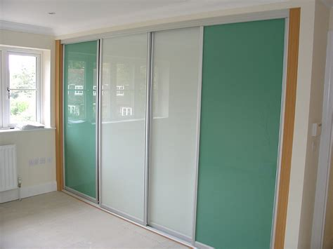 Glass Sliding Wardrobes by Matt Silver Sliding Wardrobes With Two White Glass Panel
