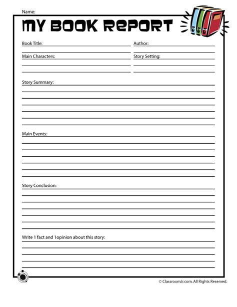 elementary school book report free printable book report forms for elementary and middle