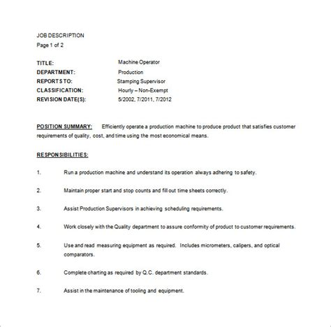Machine Operator Description For Resume by Heavy Machine Operator Description Construction