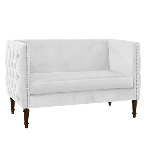 white tufted loveseat skyline nail button tufted settee loveseat in white 524263