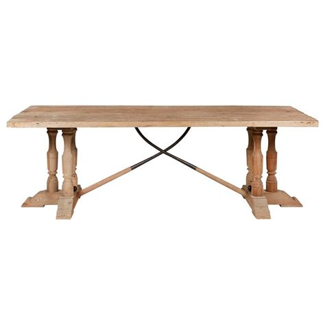 Pine Wood Dining Table Arbre Country Reclaimed Pine Wood Trestle Dining Table Kathy Kuo Home