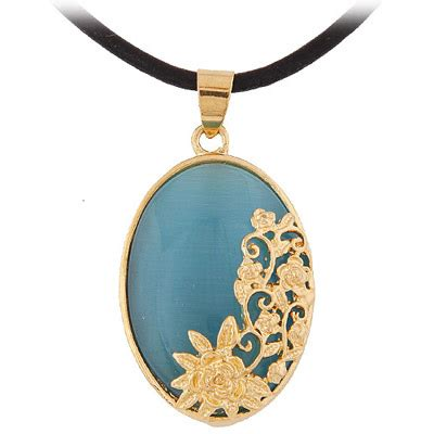 Bross Brooch Fashion Korea Oval Chain temperament blue flower decorated oval shape pendant