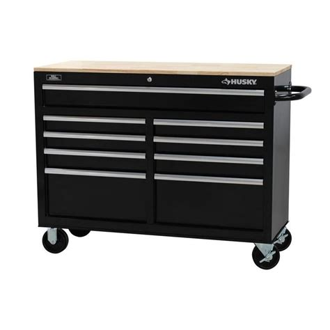 husky bench husky 46 in 9 drawer mobile workbench with solid wood top