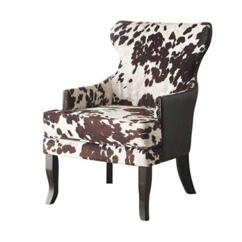 Faux Cowhide Chair worldwide homefurnishings faux cow hide fabric accent chair in brown 403 795bn the home depot
