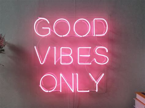 good vibes  real glass neon sign  bedroom garage