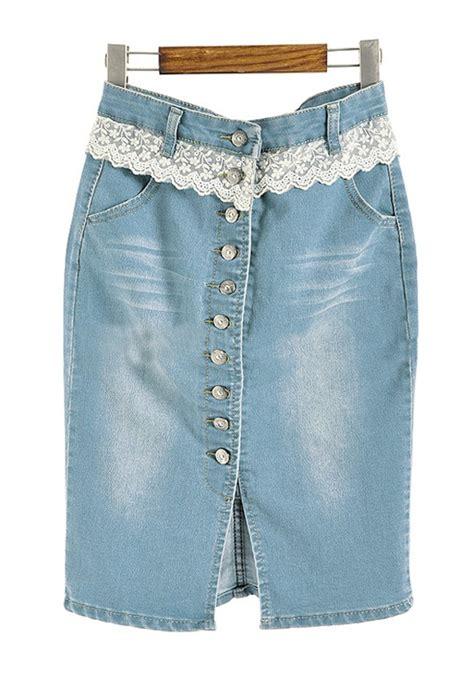 blue lace button fly low waist denim skirt skirts bottoms