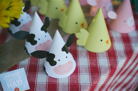 printable party hats farm animal birthday party  hat
