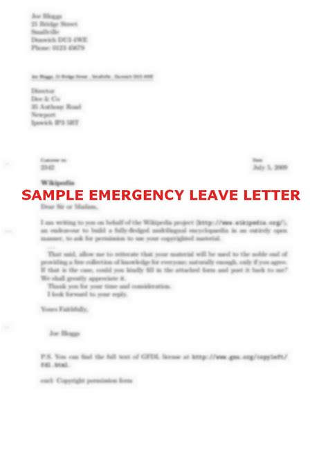 application letter for emergency leave school sle leave letter images