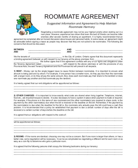 Roommate Template by Roommate Agreement 12 Free Pdf Word Documents