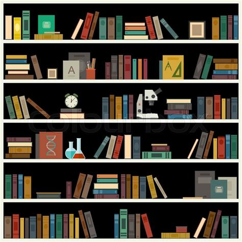 bookshelf with books in flat style vector library banner