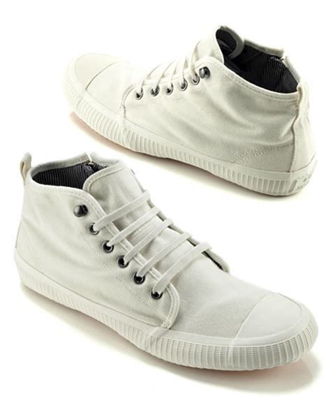 acne x tretorn stroll white canvas high top por homme