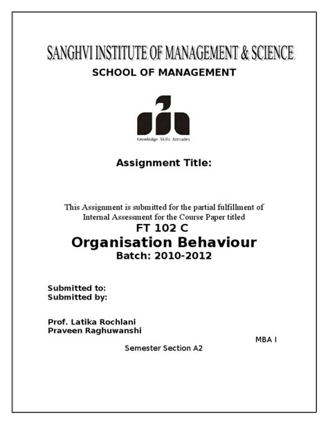 Mba Submited For Government Unversties Of Pdf by Front Page Format For Mba I Assignment