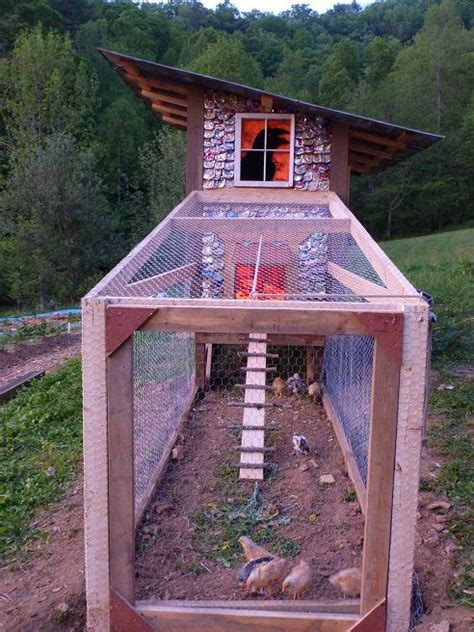 Handmade Chicken Coop - chicken coop with can shingles was built in