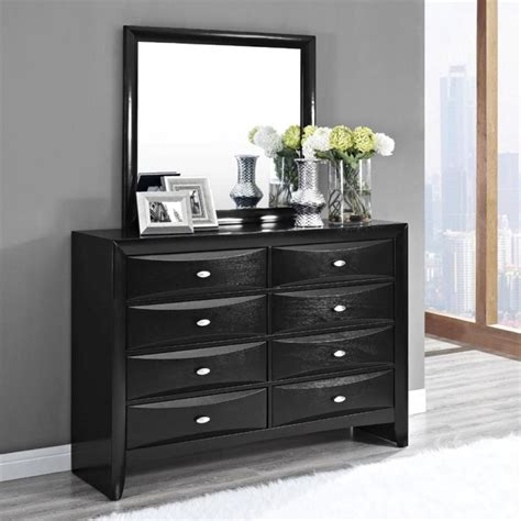 Small Bedroom Dressers Furniture Black Wooden Dresser With Several Curved Drawer Combined White Fur Rug On Grey