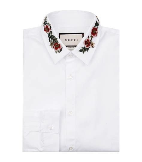 embroidered collar gucci embroidered collar shirt in white for lyst