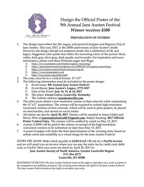 poster design contest rules 2017 poster contest the jane austen society of