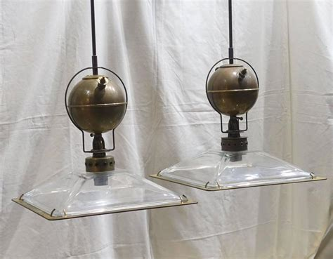 Italian Lighting Fixtures Italian Pair Of Square Glass Shade Industrial Light Fixtures Contemporary For Sale At 1stdibs